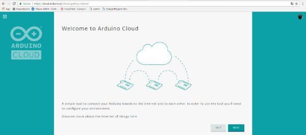 arduino cloud first page