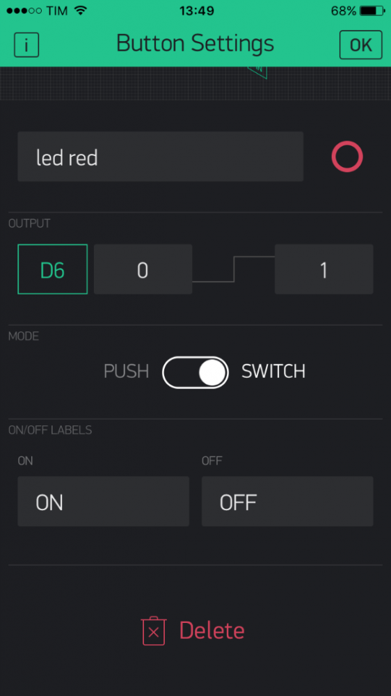 Blynk mkr1000 switch button settings