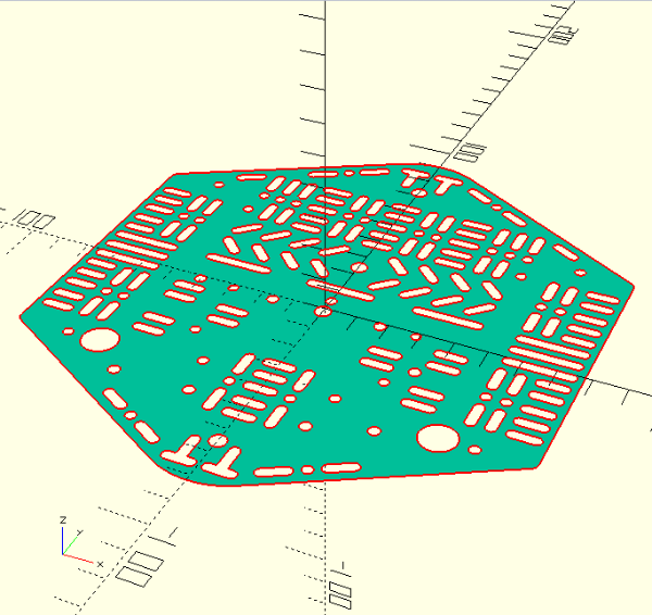 HBR robot lasercut DotBot top dxf openscad