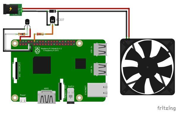 RPi DS18B20 fan control