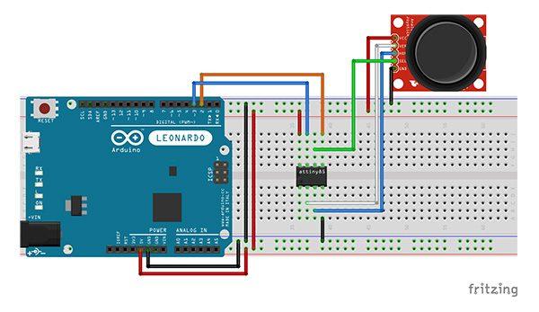 Attiny85 slave ADC i2C joystick switch schema