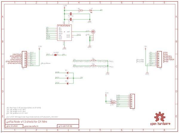 LoRa Node v1.3 schema eagle