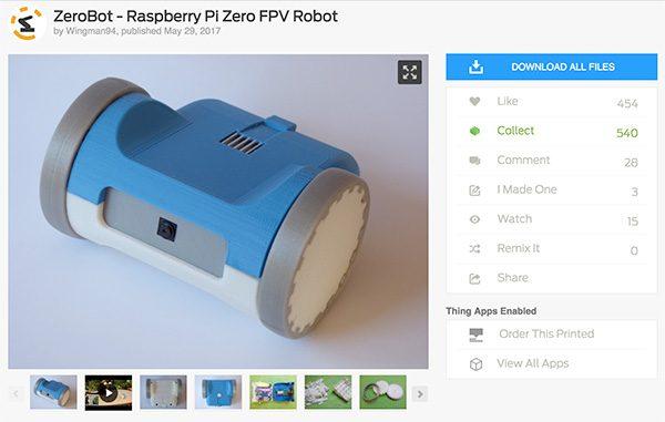 ZeroBot RPi Zero W thinghiverse