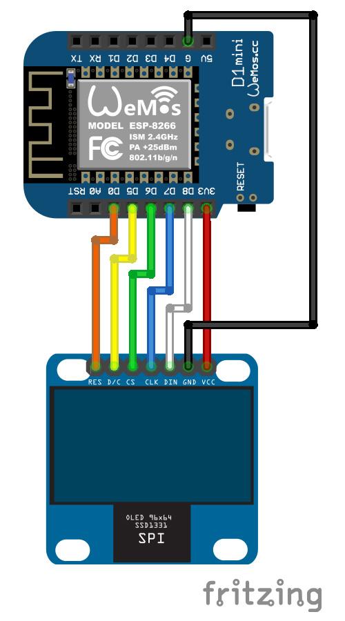 SSD1331 OLED RGB Wemos schema fritzing