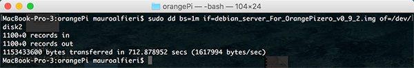 OrangePi install Debian dd completed