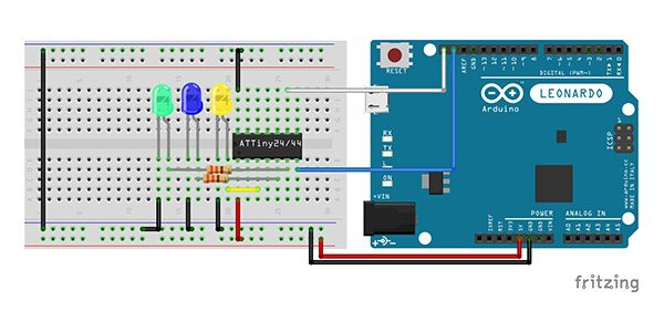 Attiny84 Arduino Led schema