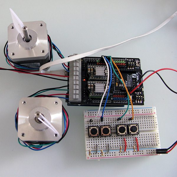 Dual stepper motor shield buttons