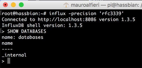InfluxDB CLI show databases
