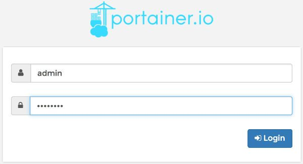 Docker portainer login