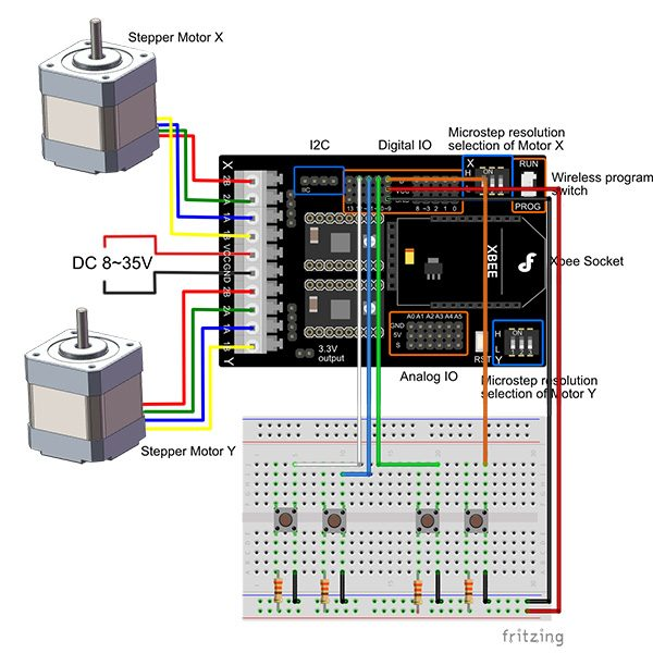 Stepper motor shield schema