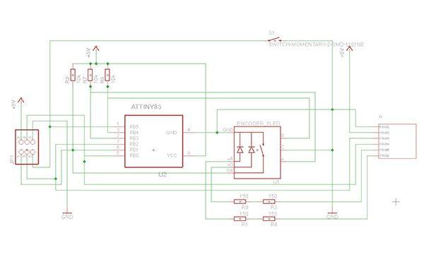 Attiny85 encoder realizzazione pcb schema eagle