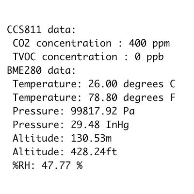 SPX-14241 Arduino serial output BMP280 CCS811