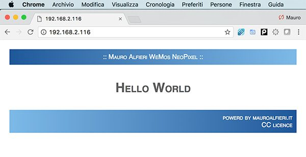 WeMos ESP8266 WebServer Chrome Web Page
