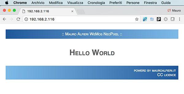 WeMos ESP8266 WebServer Chrome Web Page