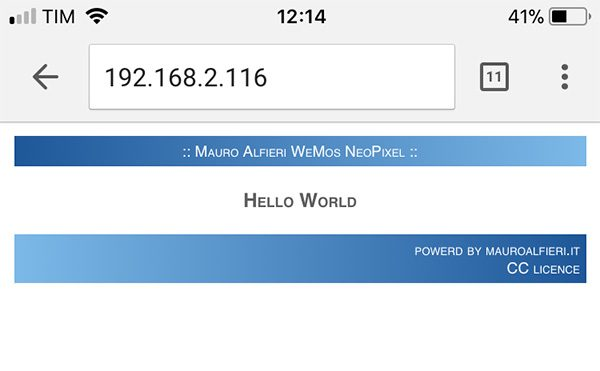 WeMos WebServer iPhone Web Page