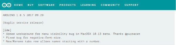 arduino ide 1.8.5 release note