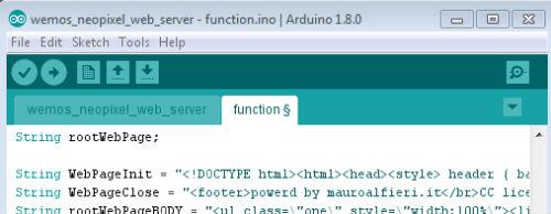 Neopixel Wemos Web server arduino ide function ino