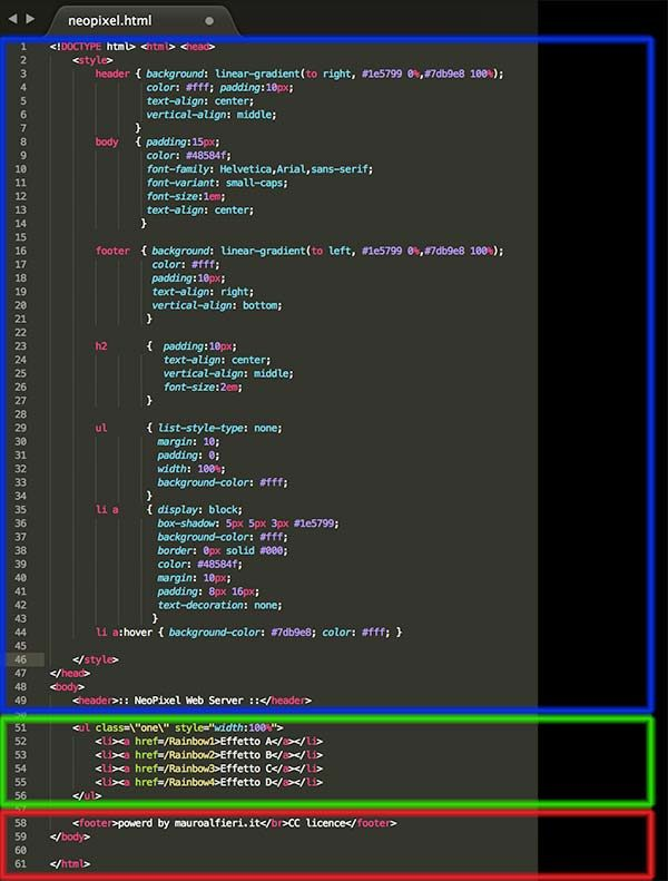 neopixel wemos web server html code