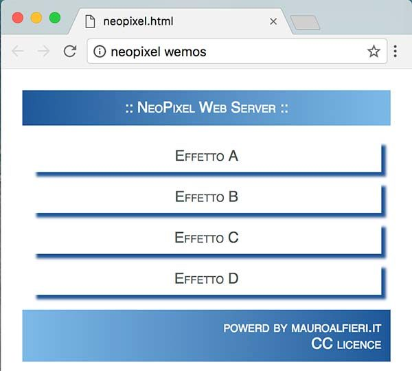 neopixel wemos web server html page