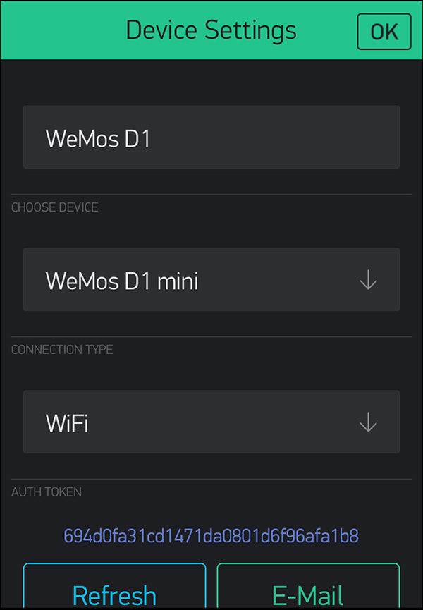 WeMos D1 mini DHT22 Blynk device settings
