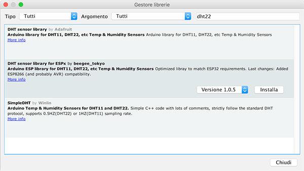 WeMos D1 mini DHT22 library adafruit