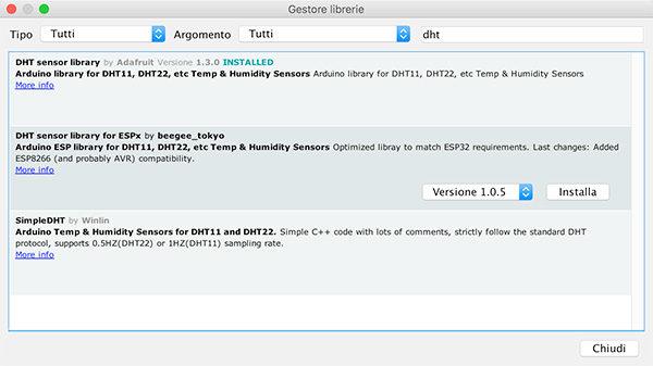 WeMos D1 mini DHT22 library adafruit installed