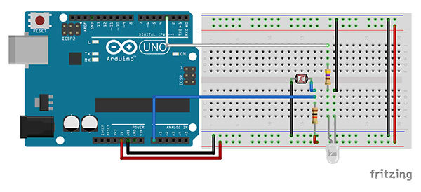 PID library arduino led foto resistor schema