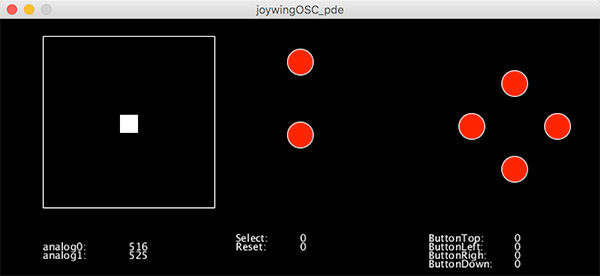 Joypad OSC Processing Feather joy featherwing osc processing