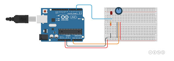 Tinkercad circuit led e potenziometro