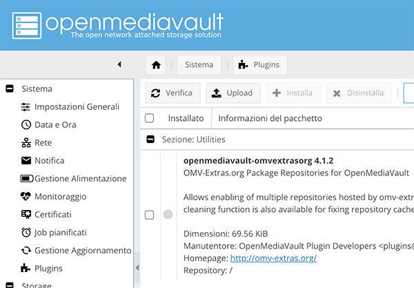 OpenMediaVault 4 omvextrasorg plugin