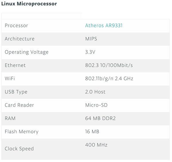 Arduino Yun Rev.2 linux microprocessor
