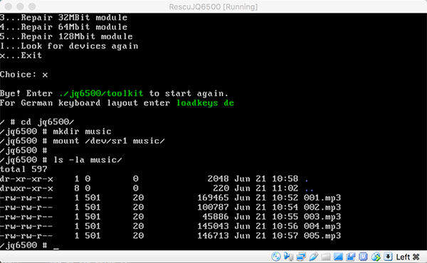 JQ6500 rescue tool virtualbox manage music