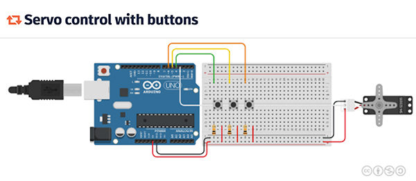 Tinkercad Servo control buttons tutorial
