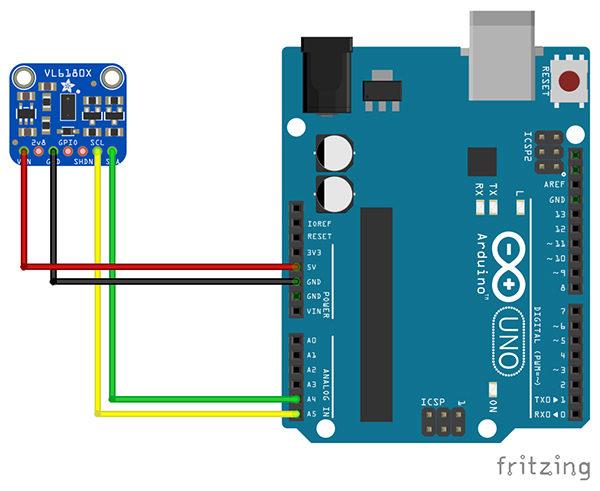 Modulo TOF VL6180x schema