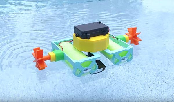3d robot boat printed crickit-boat