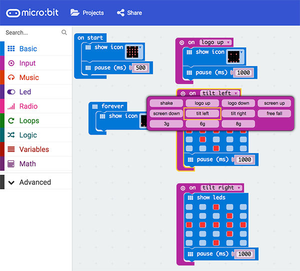 Micro bit accelerometer sketch event on options