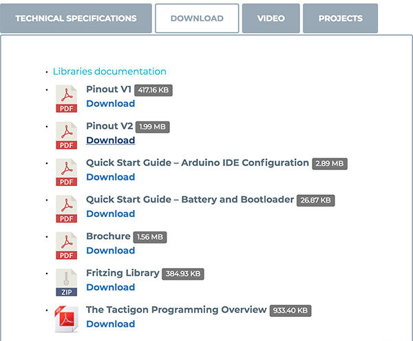 The Tactigon v2 download section