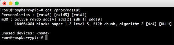 Raspberry RAID5 mdadm completed