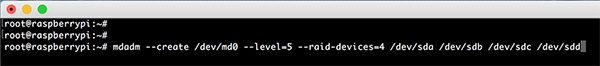 Raspberry RAID5 mdadm create raid
