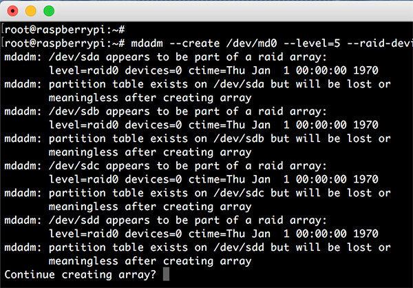 Raspberry RAID5 mdadm create raid confirm