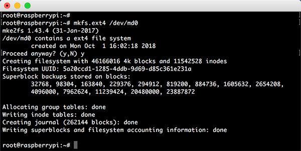 Raspberry RAID5 mdadm mkfs ext4