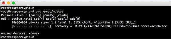 Raspberry RAID5 mdadm raid status mdstat