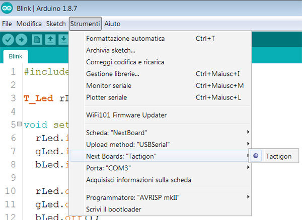 the tactigon arduino ide board selected