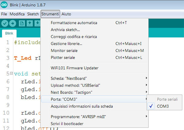 the tactigon arduino ide com selected