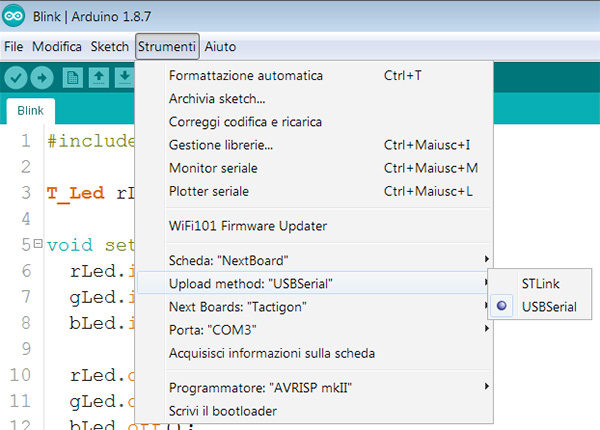 the tactigon arduino ide usb serial mode selected