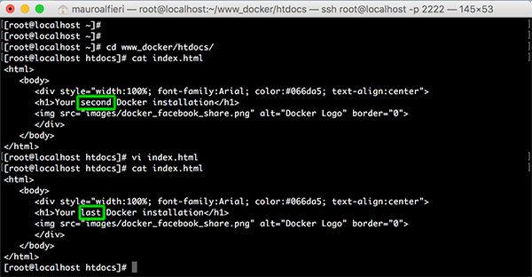 Docker container share dir html vi edit last
