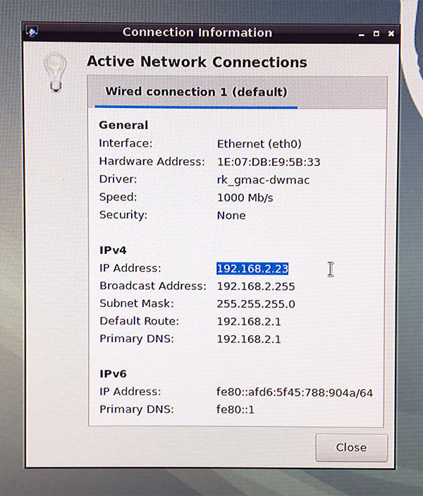 RockPi4 install on eMMC network info
