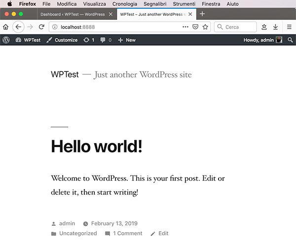 Wordpress MySql Docker containers hello world