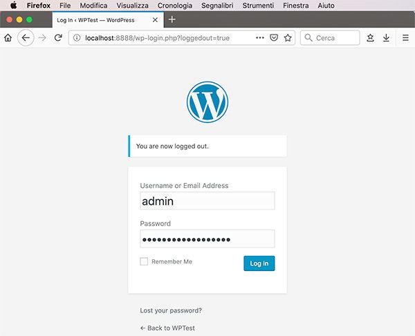Wordpress MySql Docker containers login