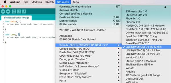 Select WeMos IDE arduino